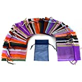 """48 Organza Drawstring Pouches Gift Bags Assorted Colors 4x5"""" (As shown)"""