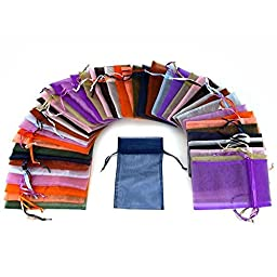 48 Organza Drawstring Pouches Gift Bags Assorted Colors 4x5\