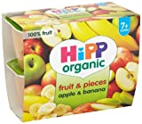 HiPP Organic From 7-9 months Puree and Pieces Apple and Banana with Real Apple Pieces 4 x 100 g (Pack of 6, Total 24 Pots)