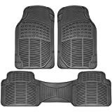 OxGord Universal Fit 3-Piece Full Set Ridged Heavy Duty Rubber Floor Mat - (Gray)