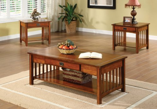 Furniture Of America Francia 3 Piece Mission Style Table Set Antique Oak Finish Sets Living