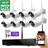 [1TB Hard Drive Pre-installed] xmartO 8 Channel 960p HD Wireless Security Camera System with 8x 1.3MP HD Weatherproof Outdoor Night Vision Wireless IP Cameras and 1TB Hard Drive