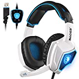2016 New SADES Spirit Wolf 7.1 Surround Sound Stereo USB Gaming Headset Headband Headphones with Mic Over-the-Ear Noise Isolating Volume Control LED Light For PC Gamers (White)