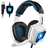 2016 Newest Updated USB Headset SADES Spirit Wolf 7.1 Surround Sound Stereo USB Gaming Headset With Microphone...