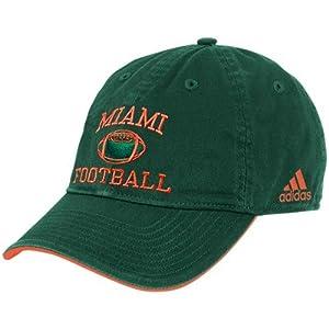 Buy adidas Miami Hurricanes Green Collegiate Football Adjustable Hat by adidas