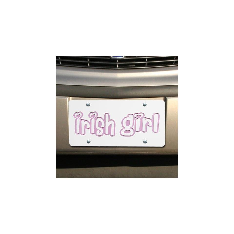 Notre Dame Fighting Irish White Mirrored Girl License Plate