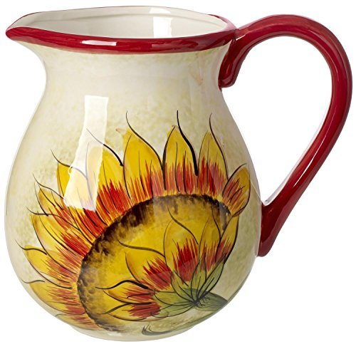 original-cucina-italiana-ceramic-water-pitcher-35-quarts-red-rim-sunflower-design-by-5th-ave-store