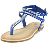 Alpine Swiss Womens Blue Slingback T-Strap Rhinestone Thong Sandals 7 M US