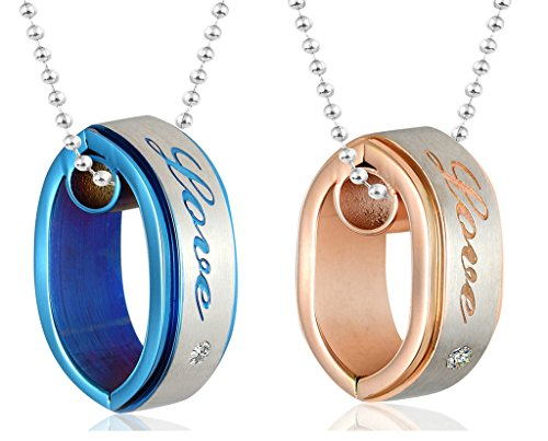 Daesar His & Hers Necklace Set Couples Pendant Necklace Stainless Steel Matching Rings