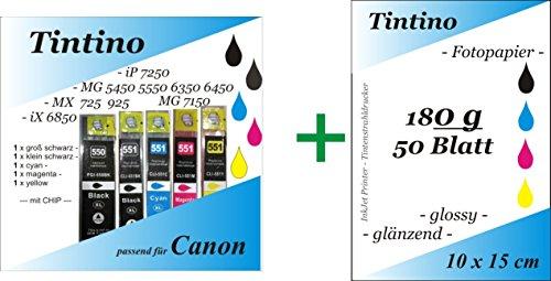1 Set = 5 kompatible PGI 550 Cli 551 XL - 1 x bk pbk c m y - Canon Pixma iP zB MG 5550 MX IX + Chip + Füllstandsanzeige + 50 Blatt Tintino Fotokarten 10 x 15 - 180g