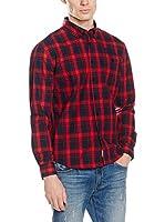 Lonsdale Camisa Hombre Thainstone (Navy/Dark Red)