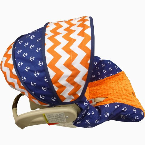 Orange Chevron Anchors Infant Car Seat Cover