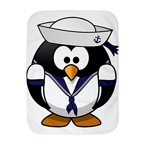 Truly Teague Baby Blanket White Little Round Penguin - Navy Sailor