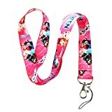 Pink Disney's Frozen Print Keychain Key Chain Lanyard Clip with Webbing Strap Quick Release Buckle