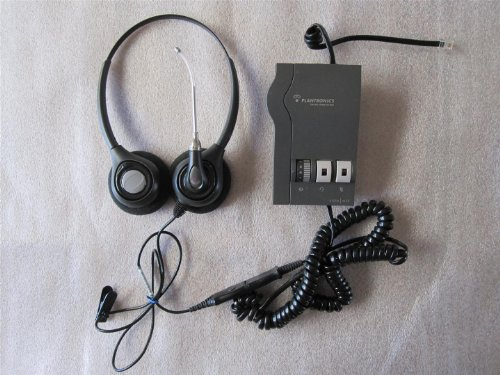 Plantronics Supraplus H261 Binaural (2-Earpiece) Headset And M22 Vista Amplifier With Cords. Very Good, Ready-To-Operate Condition