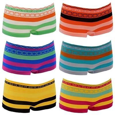 6er Pack Damen Pantys in 6 Farben und 2 Größen mit Streifen Art. Nr. PE2715