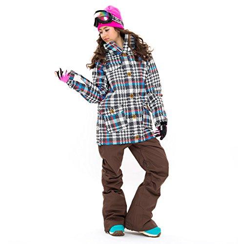 43Degrees スノーボードウェア レディース ウーマンズ ジャケット&パンツ上下セット Style_L 97 Glen Check_A × D.Brown