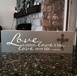 Elements of Faith Candle - 13x4 - Love Is Patient... Love Is Kind... - Religious Inspirational Candle