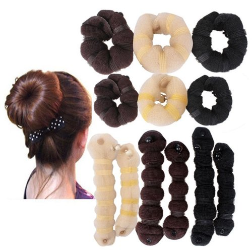 Hot Buns 2Pcs/Set(1 Large 1 Small) Hair Elegant Magic Style Bun Maker 3 Colors (Coffee) back-259094