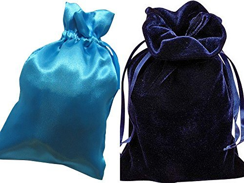"Tarot Bags: Navy Blue Velvet and Turquoise Satin Luxurious Duo Bundle 6"" X 9"""