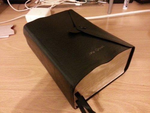 LDS Compact Quad Scriptures Button Snap Black Leather Cover (Lds Compact Quad compare prices)
