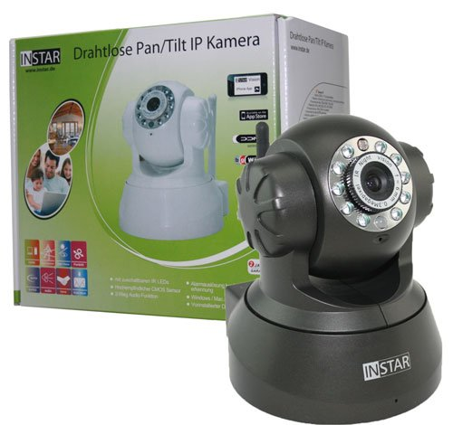 GERMAN BRAND! INSTAR IN-3011 (black) controlable Pan Tilt WLAN IP Camera with 2-way Audio function and max. 15 preset Positions, build in motor, Microphone / Speaker and Alarm IO In/Output. For MAC / Windows / Linux / Android and IPhone!