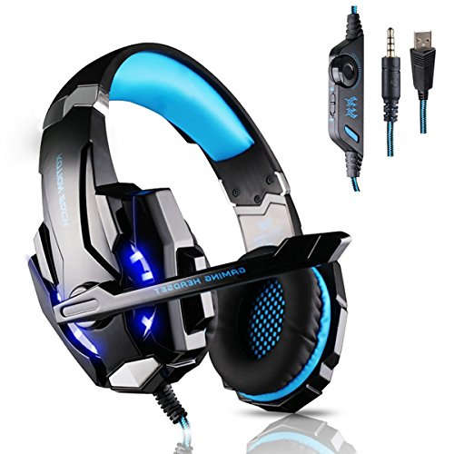 KOTION EACH G9000 Gaming Headset Headphone Headband with Microphone Led Light for Laptop Tablet Mobile Phones PS4 - Blue&Black (Black Head Phones With Microphone compare prices)