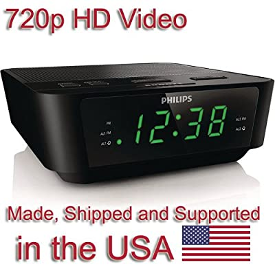SecureGuard HD 720p Alarm Clock Radio Spy Camera Covert Hidden Nanny Camera Spy Gadget by Aes Spy Cameras