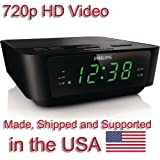 SecureGuard HD 720p Philips Alarm Clock Radio Spy Camera Covert Hidden Nanny Camera Spy Gadget