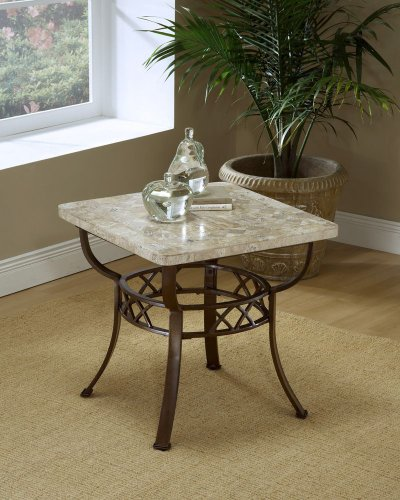 Image of Brookside Fossil End Table W/ Stone Top by Hillsdale - Metallic Brown (4815-880R) (4815-880R)