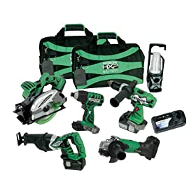 Hitachi KC18DG6L 18-Volt Lithium-Ion Tool Combo Kit, 6-Piece