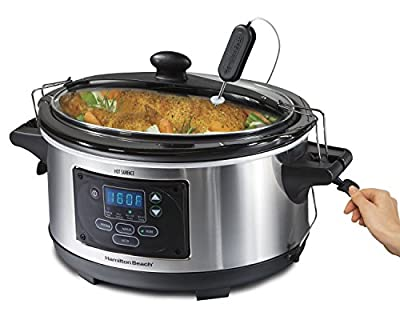 Premium Crock Pot Slow Cooker Hamilton Beach Programmable Crockpot Personal 6 Quart Portable