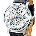 Vantasy Roman Men's Luxury Stainless Steel White Dial Skeleton Analog Hand Wind Mechanical Black Leather Wrist Watch