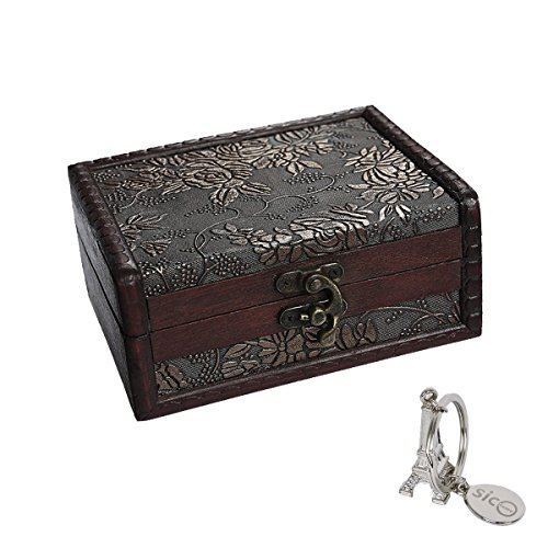 SiCoHome Treasure Box 5.46 inch Treasure Chest Jewelry Box Wood Small Chest Gift Box
