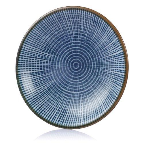 "Lagute Porcelain Dinnerware Plate Set Of 4 Pack Japanese Zen Style Dipping Sauce Dishes, For Appetizer, Dessert, Salad, Snack, Sushi, Fruit, Bread (Centric Circle, Medium 3.8"")"