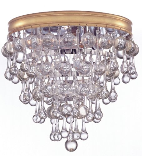 B0038SVNGQ Crystorama 135-CH Calypso Collection 3-Light Flush Mount, Polished Chrome Finish with Clear Smooth Glass Balls