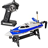 """Top Race® Remote Control Water Speed Boat, Perfect Toy for Pools and Lakes """"BLUE"""" 27Mhz (TR-800)"""