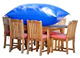 Duck Covers Elite Rectangle / Oval Patio Table & Chair Set Cover with Inflatable Airbag to Prevent Pooling, 109-Inch