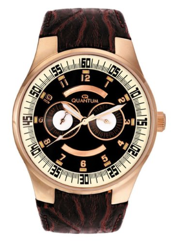 Quantum - Explorer Z9000 Gent's Watch, Multi Funktion, Stainless Steel Case with Rose Gold Plating, Brown Leather Band, Arabic Numerals, Day and Date