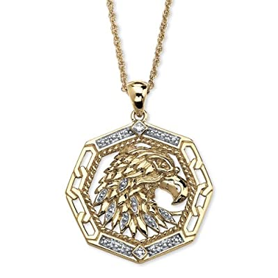 Men's Diamond Accented Eagle Pendant in 18k Yellow Gold Over Sterling Silver