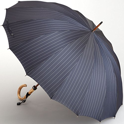 maehara/前原 PinStripe ピンストライプ エゴ焼取っ手 (ネイビー) 16本骨 長傘