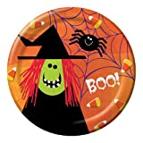 Creative Converting Halloween Spooky Friends Round Dinner Plates, 8-Count