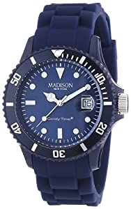 Madison York - SU4167XX - Montre Mixte - Quartz Analogique - Cadran Bleu - Bracelet Silicone Bleu par Madison New York