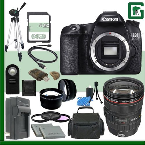 Canon EOS 70D Digital SLR Camera and Canon 24-105mm Lens + 64GB Green's Camera Package 1 (Canon 7d Mark Ii Experience compare prices)