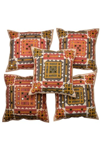 Rajrang Off White Cotton Applique Border With Mirror Patch Cushion Cover Set Of 5 Pcs #Ccs02500
