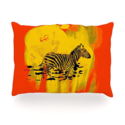 "Kess Inhouse Frederic Levy-Hadida ""Watercolored Red"" Zebra Oblong Rectangle Outdoor Throw Pillow, 14 By 20-Inch front-951076"