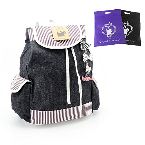 DAKIA Girl's Leisure Canvas School Bag Stripe and Bow Backpack Lovely Rucksack Korean Knapsack Casual Laptop Backpack for Students Ladies Women