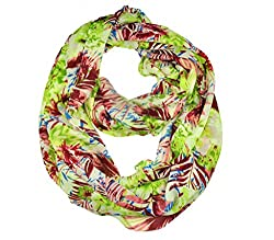 WishCart? Women's Infinity Scarf Light Weight Flower And Trees Printed,Size Bigger Then Others(Green +Brown)