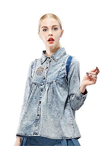 Elf Sack Womens Autumn Blouse Turn-Down Collar Retro Post-Wash Jeans Medium Size Blue