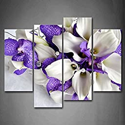 Modern Home Decoration painting Bunch Of Flowers In White And Dark Purple Pictures Print On Canvas Flower The Picture
